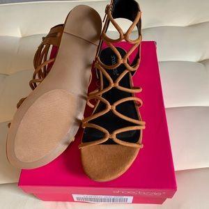 Shoe Dazzle JustFab Kelsie cognac Sandal size 9